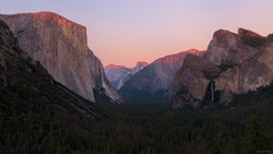 Last Light On El Capitan and Half Dome