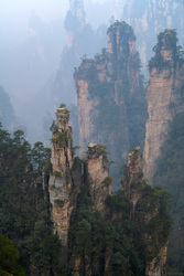 Sandstone Towers In The Mist